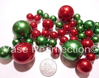 Christmas Holiday Green & Red Pearls - Jumbo/Assorted Sizes Vase Fillers for Holiday Centerpieces