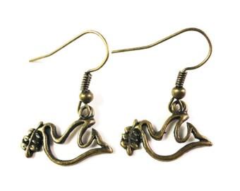 Peace Dove Earrings, Bronze Bird Earrings, Dangle Earrings, Charm Earrings, Drop Earrings, Teen and Women's Affordable Jewelry, Gift Idea