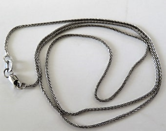 14K Solid White Gold Wheat Chain necklace 18 Inches