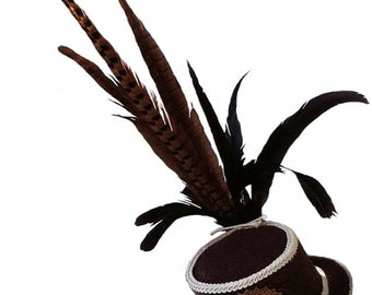 Steampunk Hat Women - with Skull Cameo - Victorian Top Hat - Chocolate Brown Cream - Pheasant Feathers