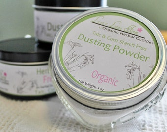 Natural Body Powder with cotton dusting puff, Talc and Corn Starch Free PICK A SCENT