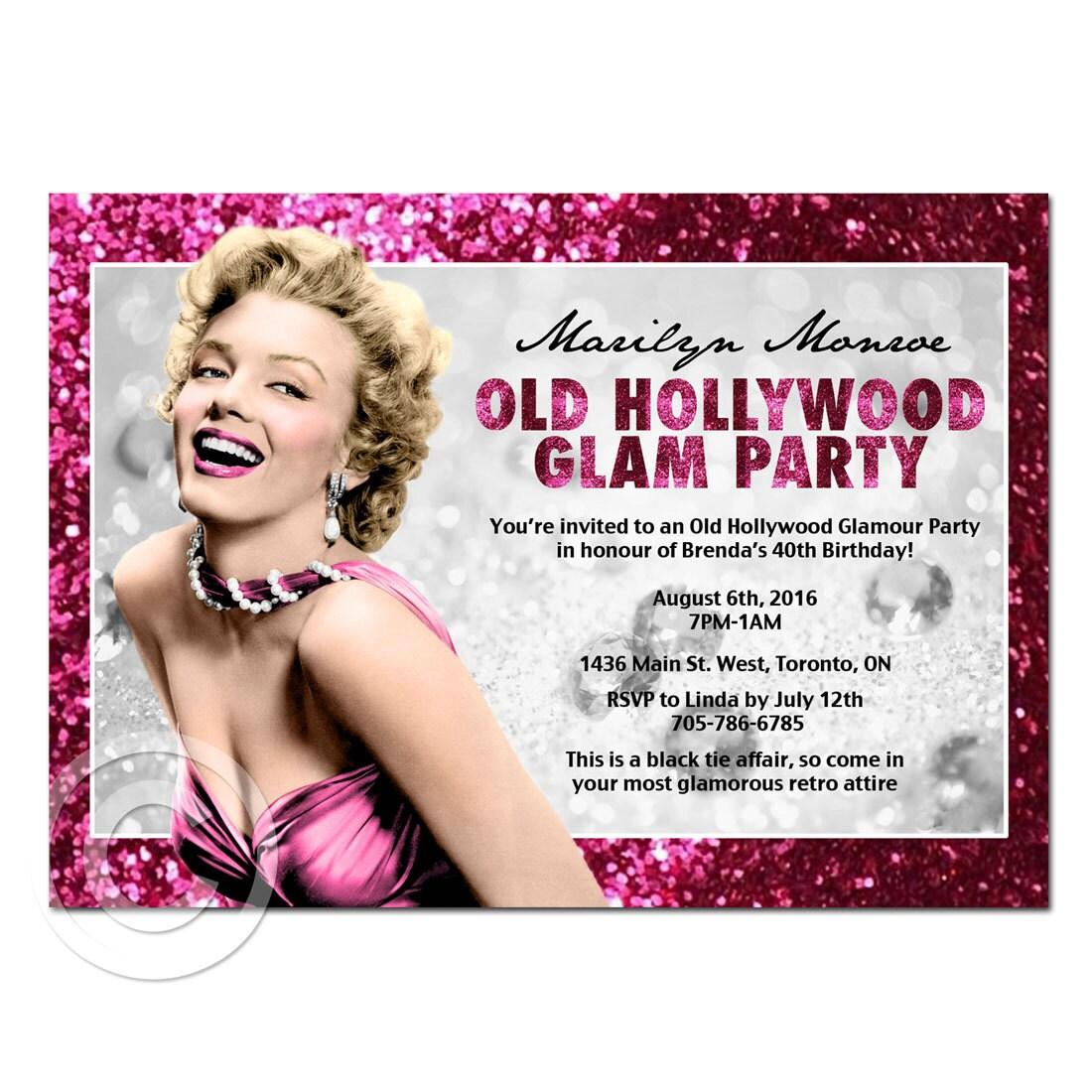 Printable Birthday Hollywood Glamour or bachelorette lingerie