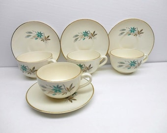 Vintage Teacup and Saucer Set Georgian China In Canadian Wheat Pattern