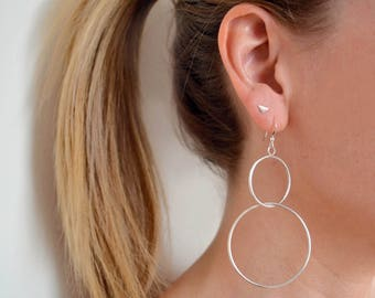 Sterling Silver Double Hoop Earrings | Double Hoop Earrings | Large Hoop Earrings