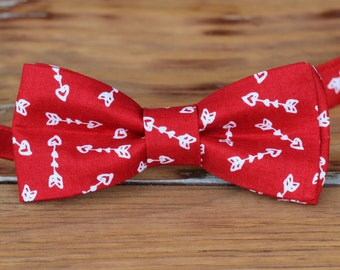 Mens red heart bow tie - mens red white arrow Valentine's Day bow tie | bowtie for men and teen boy | mens love bow tie | wedding | photo