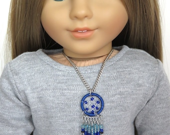 Doll Necklace for 18-Inch Dolls.  Blue Beaded Dream Catcher Necklace.  Jewelry Fits American Girl Dolls.