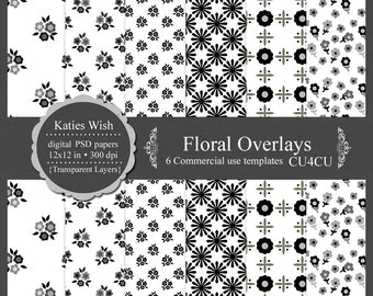 Floral Overlays digital template kit commercial use PSD layers instant download file