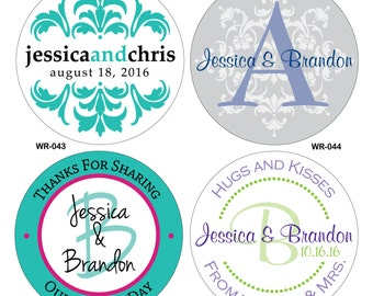 16 - 4 inch Glossy Waterproof Wedding Stickers Labels - hundreds of designs to choose from - change designs to any color or wording