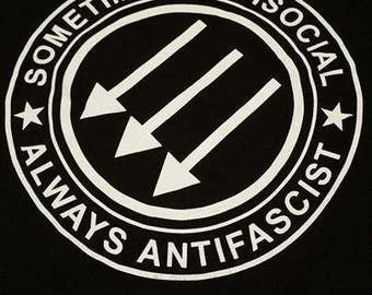 Sometimes Antisocial Always Antifascist Shirt  punk rock oi skinhead heavy metal antifa acab