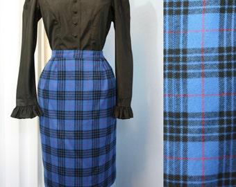 Vintage 70s 80s Pendleton Wool Authentic Smith Tartan Plaid Modern Size Medium Pencil Skirt 1940s Style