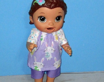 Baby Alive Snackin Lily ,Baby Alive Sweet Spoonfuls, Purple Bunny Top and Short Set, Girl Doll Clothes, 12 13 inch Doll Clothes, Outfit