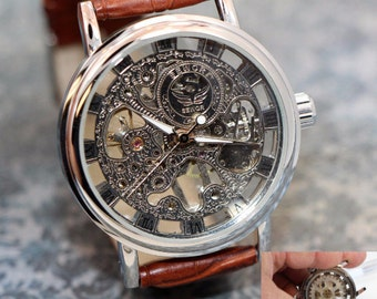 Personalized Engraved Mens Watch Steampunk Gear Watch Man Watch Brown Leather Band Groomsmen gifts or Father of the bride gift.