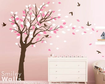 Tree with Leaves Wall Decal, Tree with Birds and leaves blowing in the Wind Wall Decal- EXTRA LARGE SIZE Nursery Vinyl Wall Decal Sticker