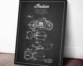 1943 Indian Motorcycle Patent Print, Canvas Print, Patent Art, Patent Decor, Wall Art, Home Decor, Gift Idea, TRBM10C