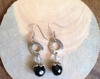 Long Textured Silver Filigree Circle and Black Bead Earrings