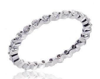 14K White Gold Ladies Round Brilliant Cut Diamond Eternity Band 0.65 Carat