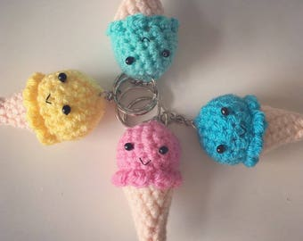 Crochet ice cream keyring