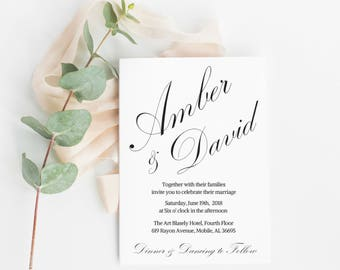 Invitation Template, Printable Wedding Invitation, Wedding Invitations, Rustic Wedding Invitation, Calligraphy Invitation, Invitation Suite