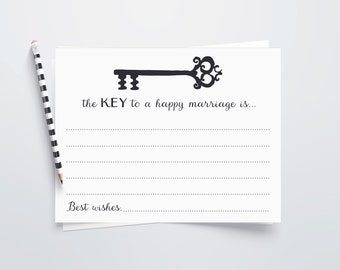 Key to a Happy Marriage Cards, Printable Wedding Advice Cards, Advice to Newlyweds Notecards, Bridal Shower Notecards, Instant Download