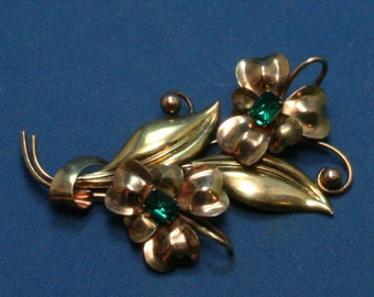 Vintage Carl Art 12K Gold Filled Over Sterling Two Tone Floral Pin Brooch With Green Rhinestones
