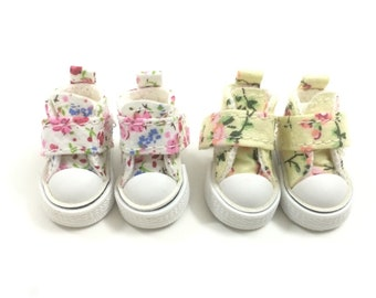 3.5cm Casual BJD Sneakers for Blythe Dolls,Fashion Toy Shoes with Flower Pattern,Mini Canvas Doll Shoes for Dolls,1/8 BJD Boots for Dolls