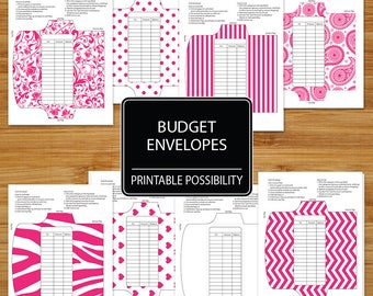 Pink Cash Envelopes - Set of 8 in Pink - Budget Envelopes - Budgeting Envelopes - Planning Spending Budgeting Envelope System