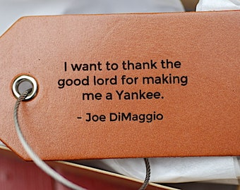 Gifts for men, Handmade Leather Luggage Tag, Custom Bag Tag, Joe Dimaggio, NY Yankee Gift, Baseball, Personalized, Dad, For Him, Birthday