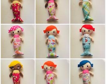 "WHOLESALE - 11"" Mermaid Dolls - Stuffed Toy - Plush - Baby Doll - Merboy - Merman - Lot of 10 Mixed Mermaids"