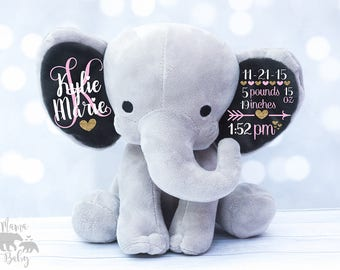 Baby Girls Birth Stat Elephant,  Keepsake Elephant, Birth Announcement Elephant, l Elephant Plush, Newborn Gift, Personalized Elephant