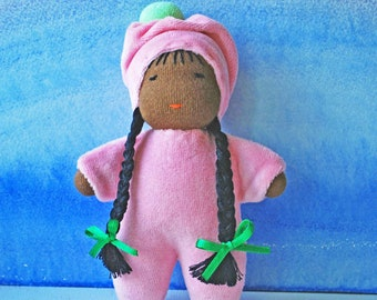 Waldorf doll, Brown skinned doll, Pocket doll, African doll, Cuddle doll, Doll girl, Steiner doll, Organic soft doll, Gift eco doll toddler
