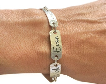 Silver names bracelet, message jewelry, personalized bracelet, sterling silver, message bracelet, multi names bracelet, name jewelry
