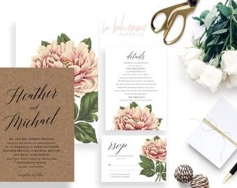Printable Wedding Invitation Suite / Wedding Invite Set - The Heather Botanical Suite