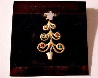 Christmas Tree Spiral Branch Tac Pin Brooch Satin Gold Tone Vintage Big Star Painted Beads Flower Pot Link Chain Spring Clasp
