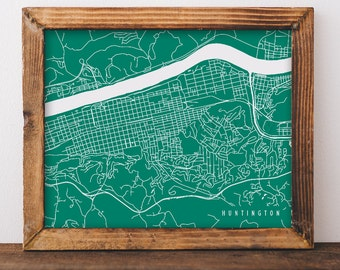Huntington Map Huntington Art Huntington Map Art Huntington Print Huntington Printable Huntington City Art West Virginia Art