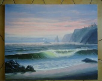 Oil on canvas Navy Sunrise painting