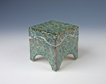 Handmade ceramic box, seafoam green with indigo pigment under, slab built, porcelain, handmade pottery, flower pattern