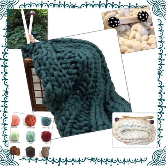 KNITTING KIT - COLOR Choice!  Giant Knitting, Giant Needles, Giant Yarn & Patterns..Chunky Blanket, 4.4# Chunky Yarn, Tutorial, Patterns,