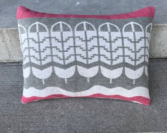 "16x12"" pillow cover made from vintage camp blanket, feather dedign"