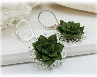 Succulent Filigree Earrings -  Succulent Vintage Style Earrings, Succulent Jewelry