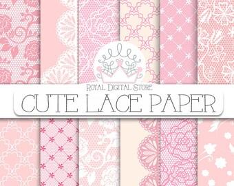 "Lace Digital Paper: "" Cute Lace Digital Paper"" with lace background, lace texture, pink lace, beige lace, vintage lace pattern, brown lace"