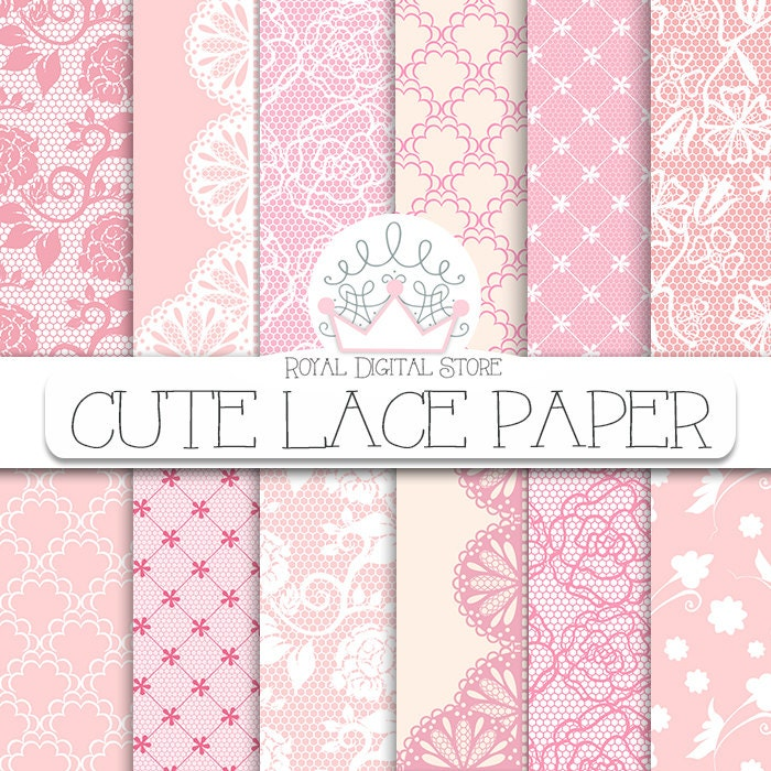 Lace Digital Paper Cute With Background Texture Pink Beige Vintage Pattern Brown