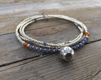 Sterling Silver Hill Tribe Bell Tanzanite Baltic Amber Long Beaded Gemstone Necklace