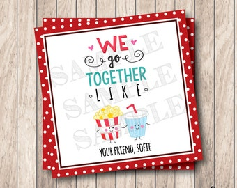 Personalized Printable We Go Together Like Tags, Printable Popcorn & Soda Valentine Tags, Valentine Popcorn Tags