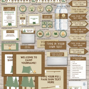 Camping Party Printables - full Printable Package - Decorations & Invitation - INSTANT DOWNLOAD with EDITABLE text - you personalize at home