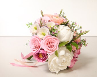 Clay wedding bouquet, bouquet made of air light clay, peonies, roses, ranunculus, lisianthus