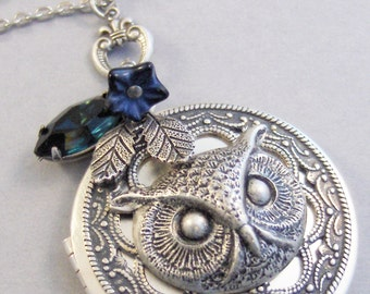 Sapphire Hoots,Owl Locket,Owl Necklace,Sapphrie Neckalce,Silver Locket,Silver Necklace,Owl,Silver,Woodland,Antique Locket. valleygirldesigns