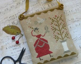 Primitive Cross Stitch Pattern - A Sprig of Holly - Choose Pattern Only or Pattern w/Floss Kit