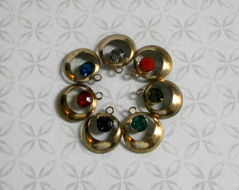 10pcs Vintage Brass Hoop Finding Gold Charm Bead with Swarovski Crystal Rhinestones Metal GoGo Hoop Earring Brass Stamping