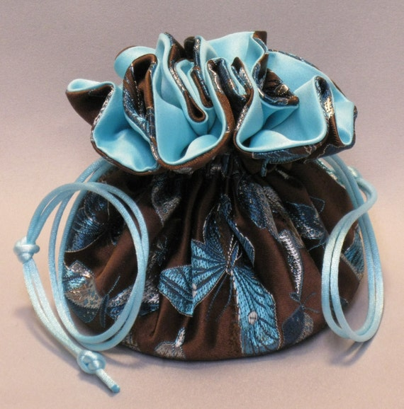 Jewelry Travel Tote---8 Pocket Drawstring Organizer Pouch---Butterfly Party Satin Brocade---Regular Size