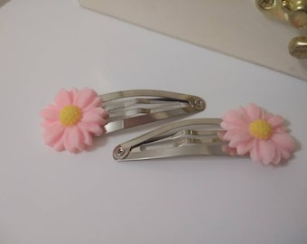 Flower pink girls hair clip 5cm